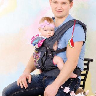 """Эргономичный рюкзак переноска """"My baby"""" синий джинс"""