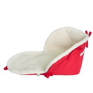 Подстилка для санок на овчине красная