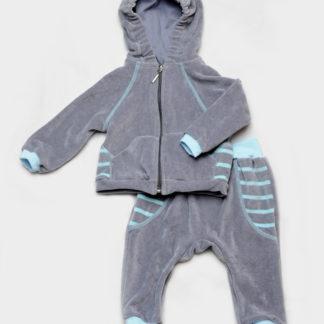 Велюровый костюм для малышей (серо-голубой)