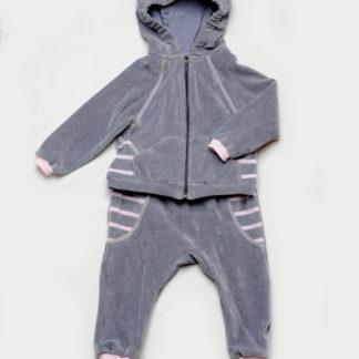 Велюровый костюм для малышей (серо-розовый)