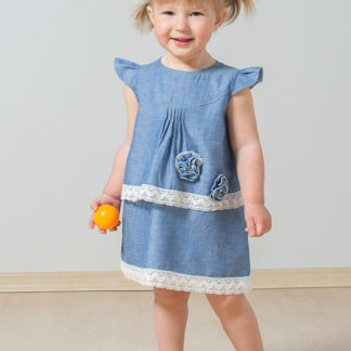Платье с кружевом (хлопок деним)