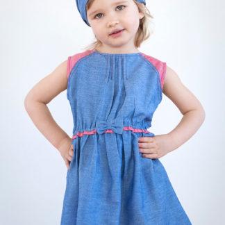 Платье с бантиком (хлопок деним)