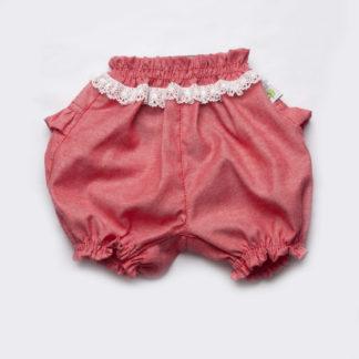 Шорты-панталоны для девочек с кружевом (коралл)